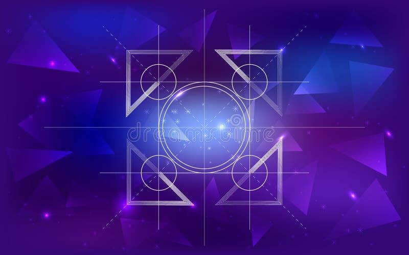 Ruimteachtergrond met een patroon van driehoeken, constellaties, het net van cirkels en plaats voor tekst royalty-vrije stock foto