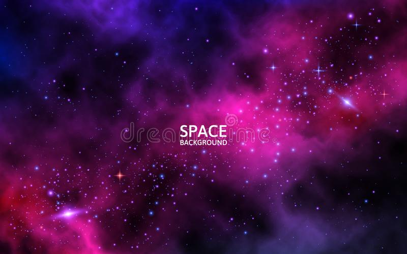 Ruimteachtergrond met kleurrijke melkweg, planeet en glanzende sterren Heldere kosmische achtergrond met nevel en stardust royalty-vrije illustratie
