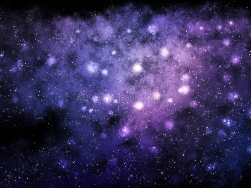 Ruimteachtergrond met nevel en sterren vector illustratie
