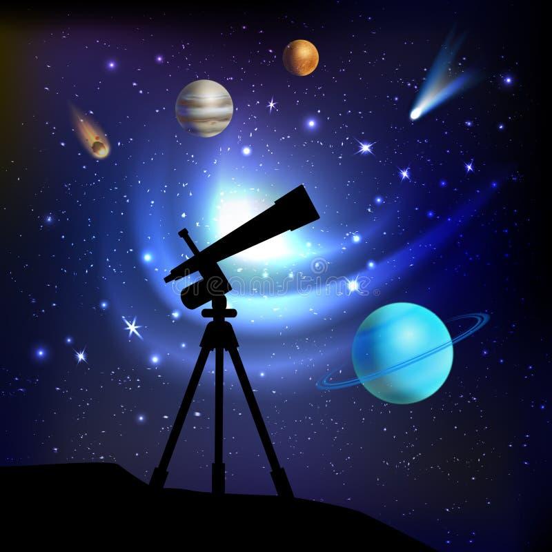 Ruimteachtergrond met Telescoop royalty-vrije illustratie