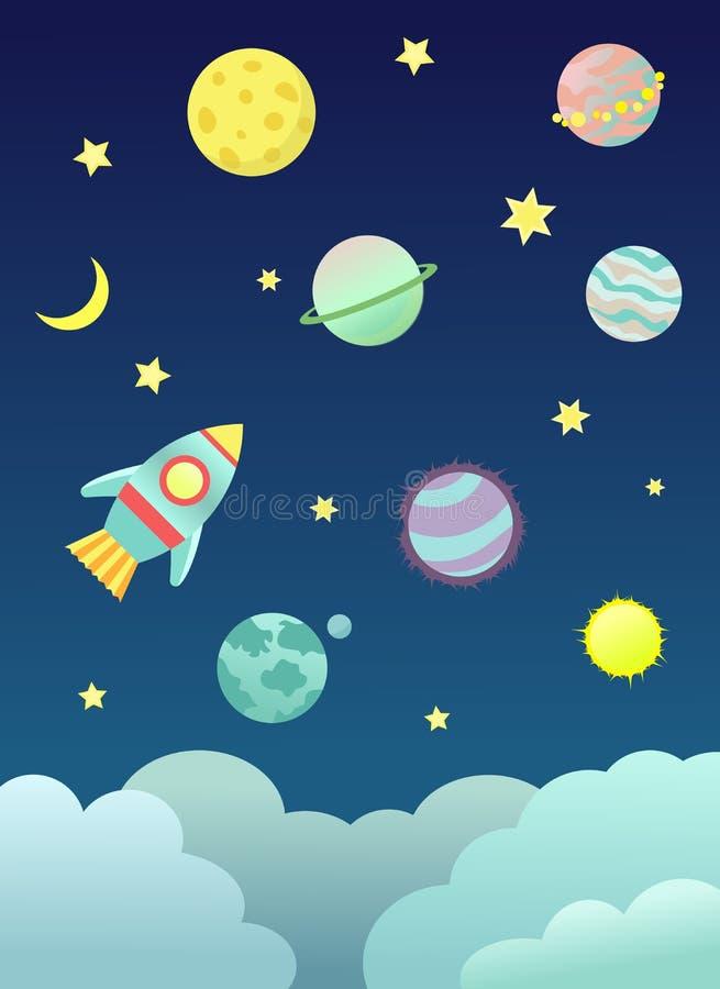 Ruimtebeeldverhaalillustratie vector illustratie