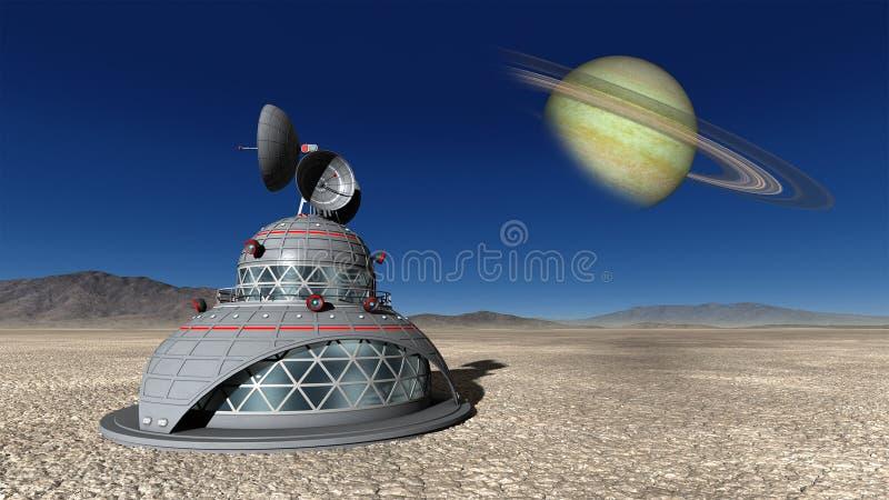 Ruimteexploratie Maanbasis Illustraion stock illustratie