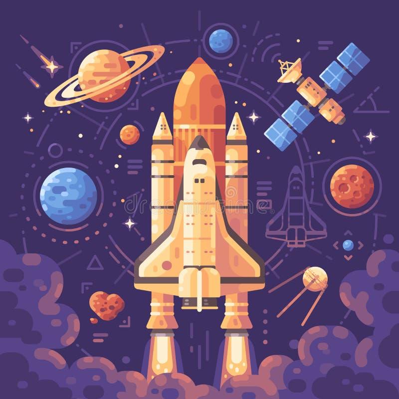 Ruimteexploratieconcept Ruimteobjecten vlakke illustratie stock illustratie