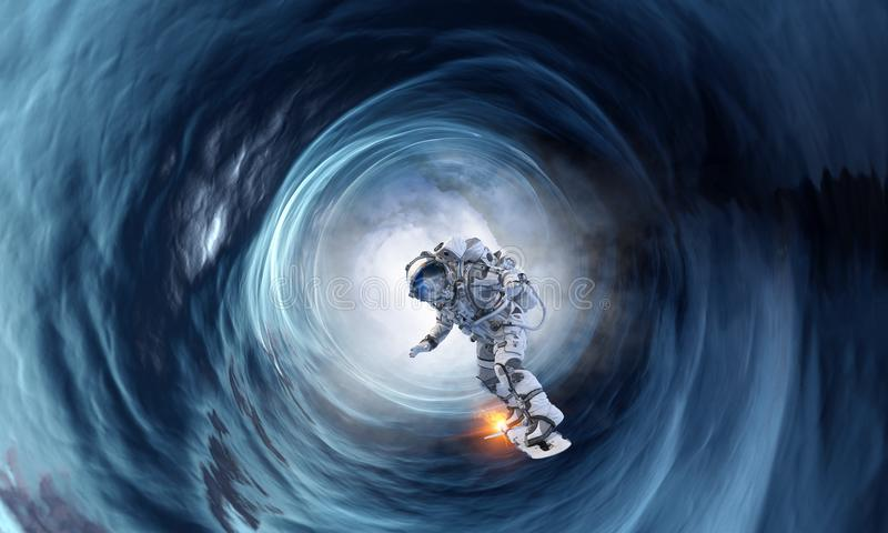 Ruimtegat en astronaut Gemengde media stock afbeelding