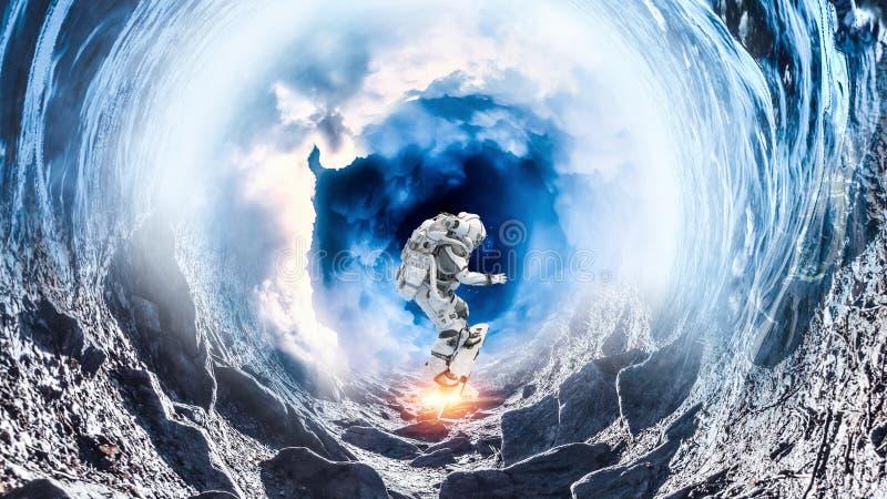 Ruimtegat en astronaut Gemengde media stock foto's