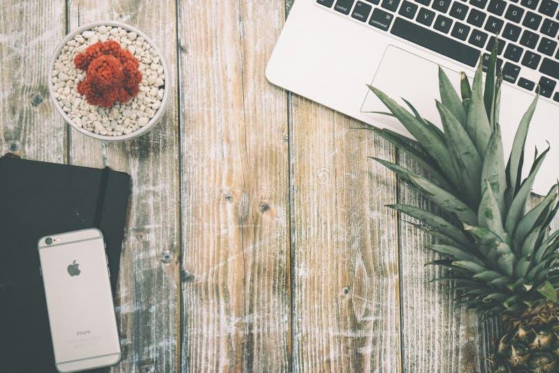 Ruimtegray iphone 6s dichtbij Groen Ananasfruit naast Zilveren Laptop Computer royalty-vrije stock foto