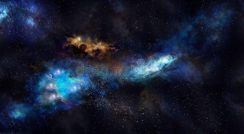 Ruimteiillustration, met nevel, mist en sterren stock afbeelding