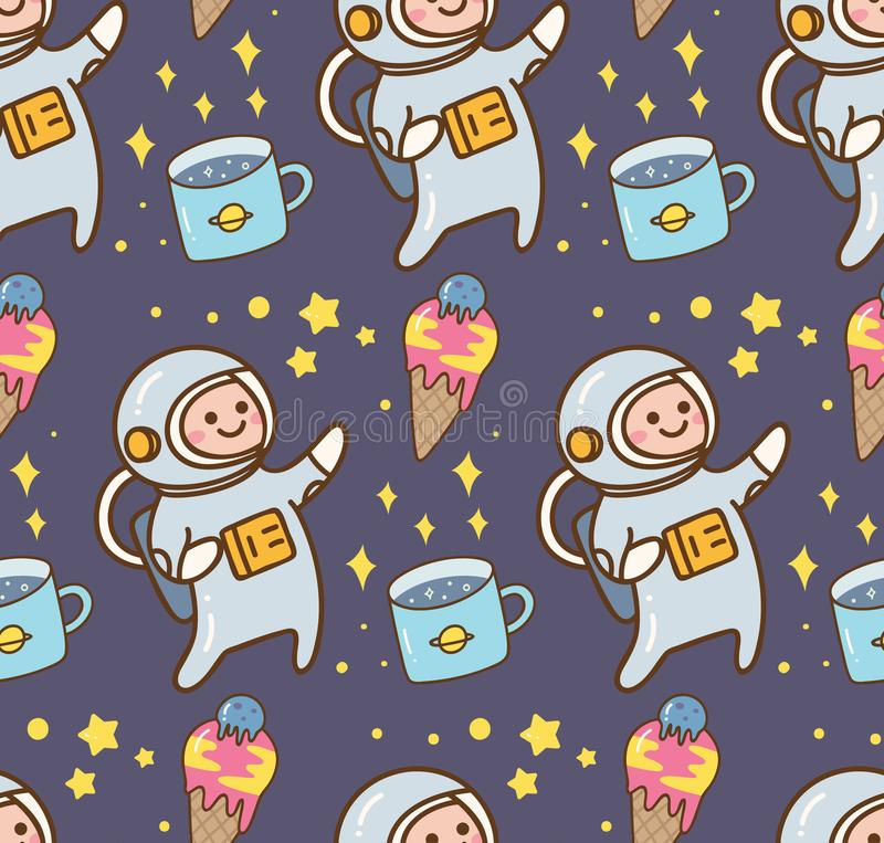 Ruimtekawaiiachtergrond met astronaut en roomijsplaneet royalty-vrije illustratie