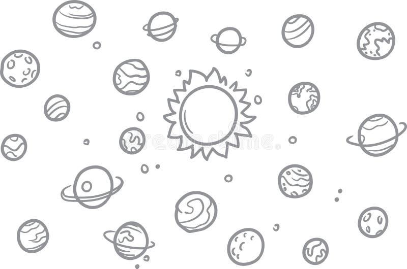 Ruimtekrabbel vectorelementen Hand getrokken sterren, kometen, planeten en maan in hemel Illustratie van de astronomie de ruimtew stock illustratie