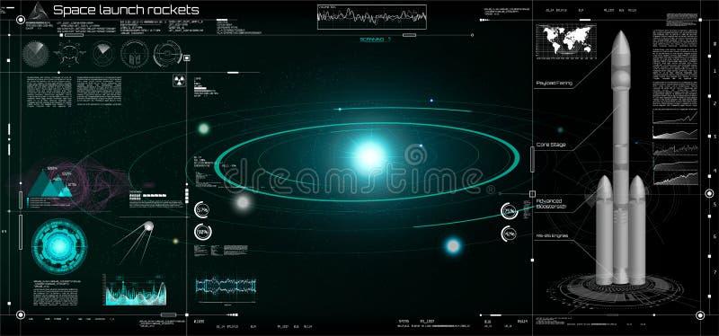 Ruimtelanceringsraketten in de HUD-stijl! 3d raket vector illustratie