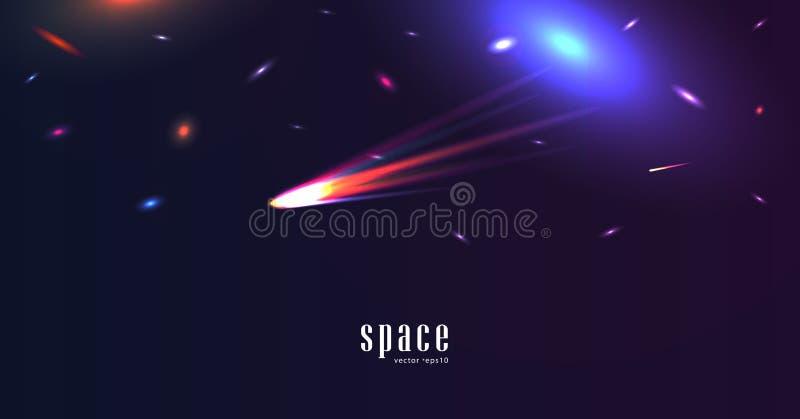 Ruimtelandschap met kleurrijke glanzende sterren en komeet stock illustratie
