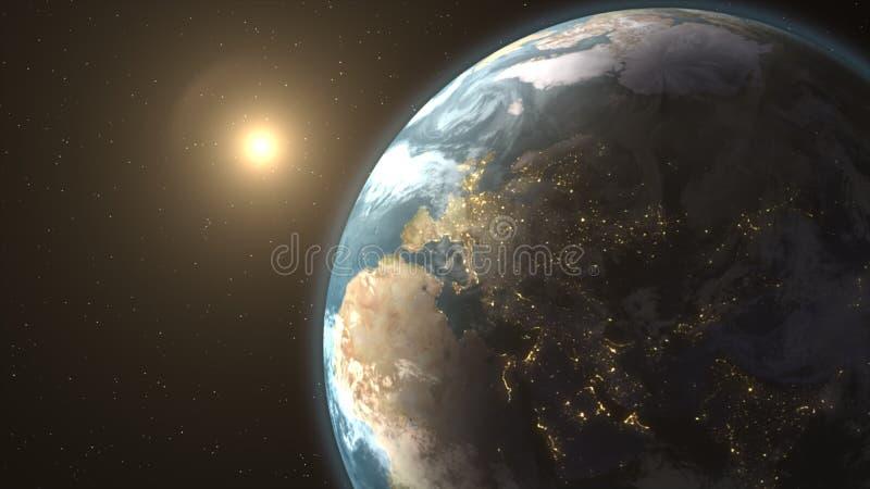Ruimtelandschap van de zon die achter de aarde toenemen royalty-vrije illustratie