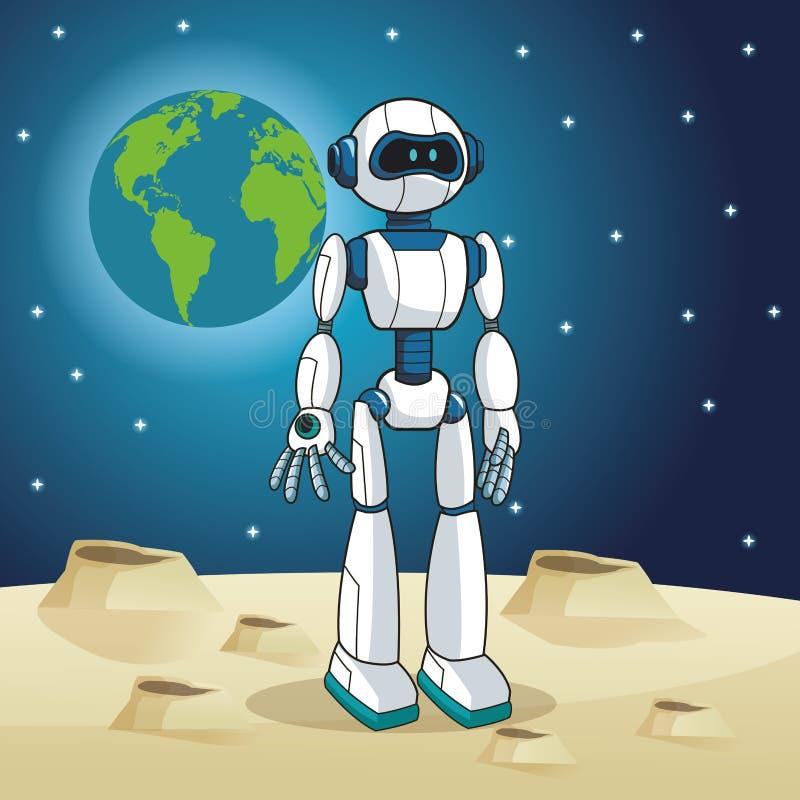 Ruimtemaan van de robot de androïde aarde stock illustratie
