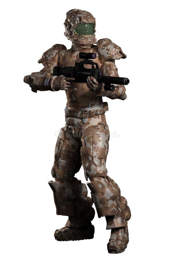 Ruimtemarine trooper in Bruine Camouflage royalty-vrije illustratie