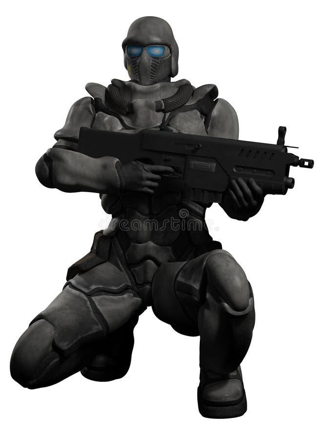 Ruimtemarine trooper crouching vector illustratie