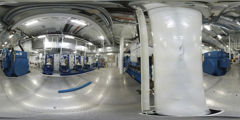 360 ruimten van de Werkelijkheids hoofdmachines van VR Virtuele van een modern schip royalty-vrije stock afbeeldingen