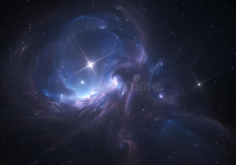 Ruimtenevel de wolk van gas en stof blokkeert het licht van verre sterren stock illustratie