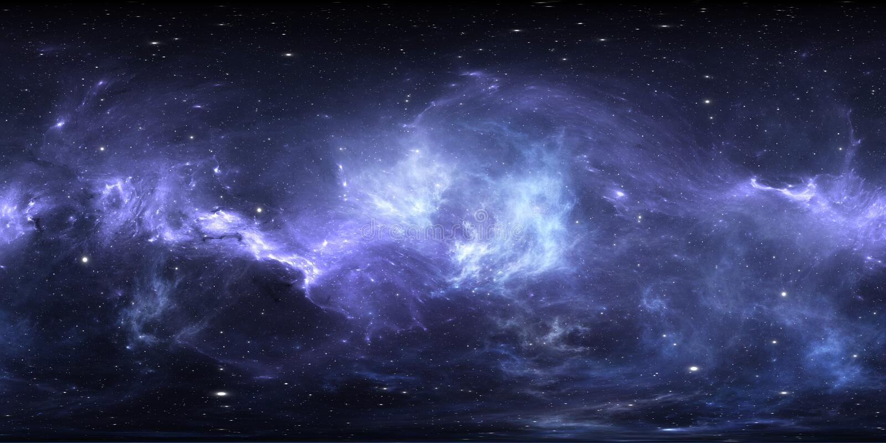 Ruimtenevel met sterren Virtueel werkelijkheidsmilieu 360 HDRI-kaart Heelal equirectangular projectie, sferisch panorama royalty-vrije illustratie