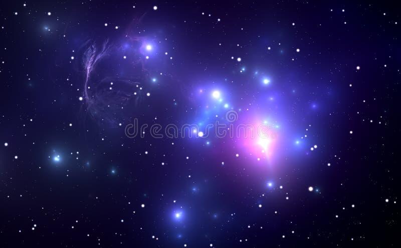 Ruimtenevel met Supernovaexplosie op de achtergrond stock illustratie