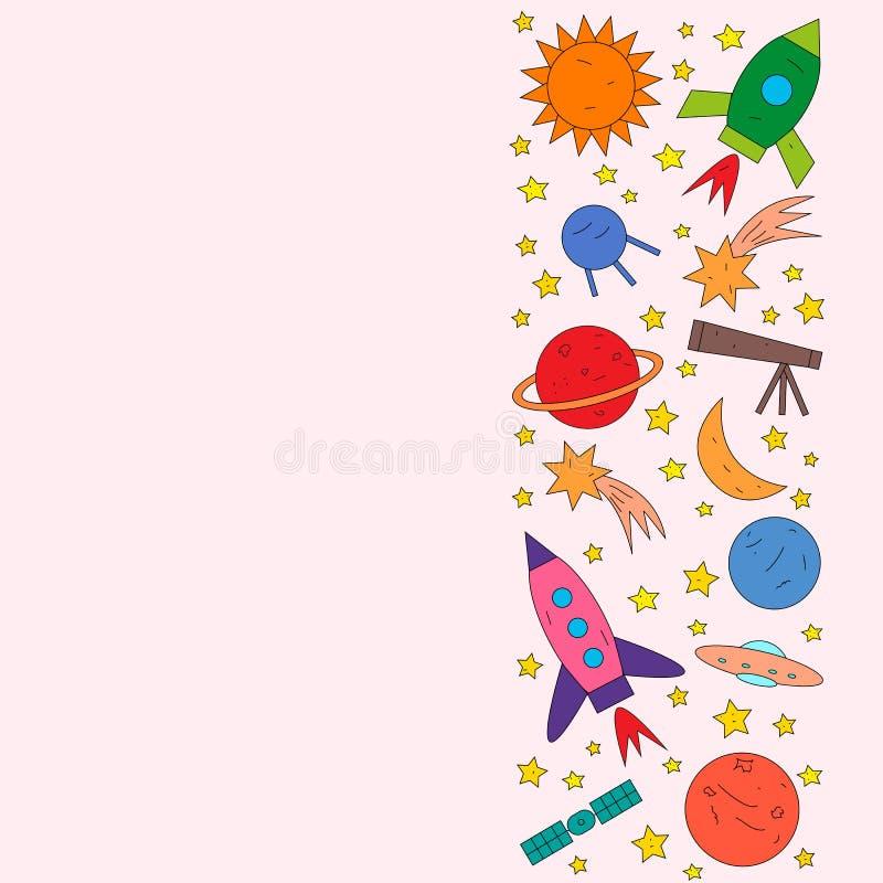 Ruimteobjecten raket, planeet, ster, komeet, ufo, satelliet vector illustratie