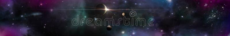 Ruimtepanoramalandschap mening van het heelal stock afbeeldingen