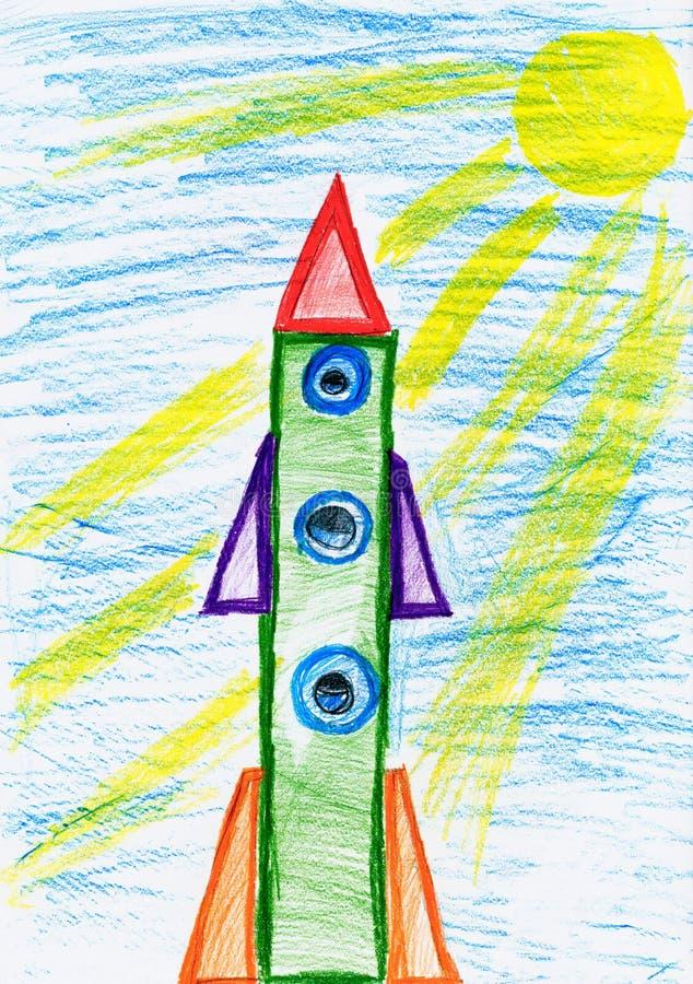 Ruimteraket bij lancering, kinderen die voorwerp trekken op document, hand getrokken kunstbeeld royalty-vrije illustratie