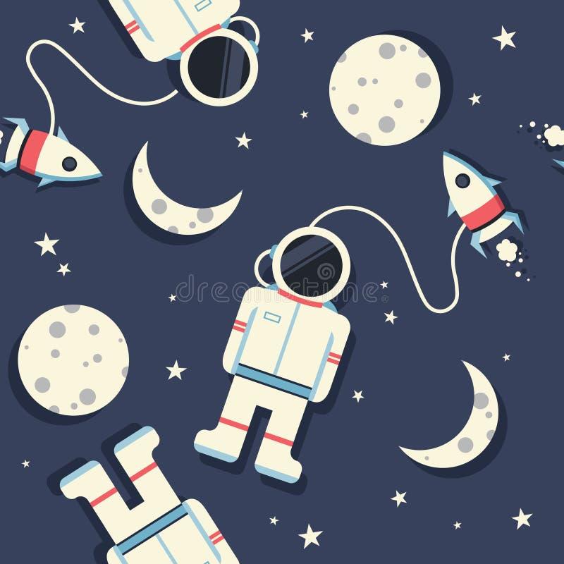 Ruimteraketten, astronauten, maan en sterren, kleurrijk naadloos patroon stock illustratie