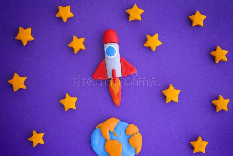 Ruimterocket flying through the starry-Hemel stock foto