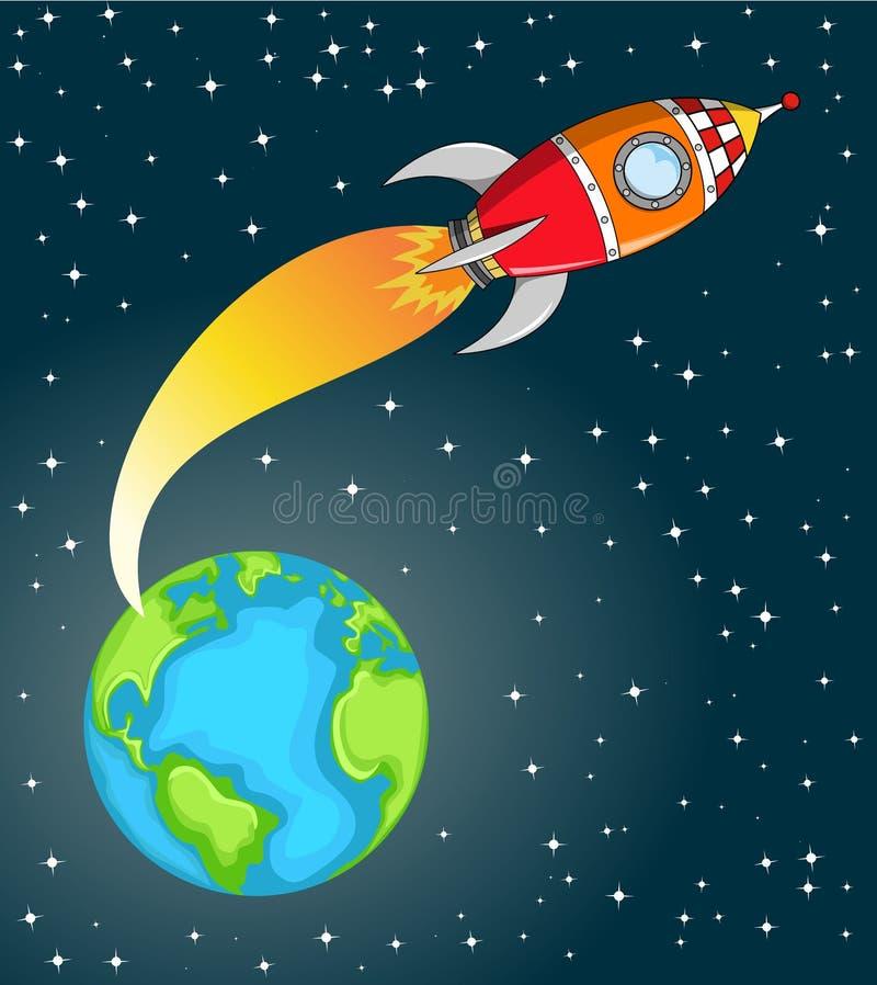 Ruimterocket leaving de Aarde stock illustratie