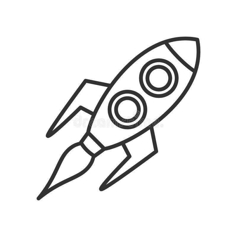 Ruimterocket outline flat icon op Wit stock illustratie