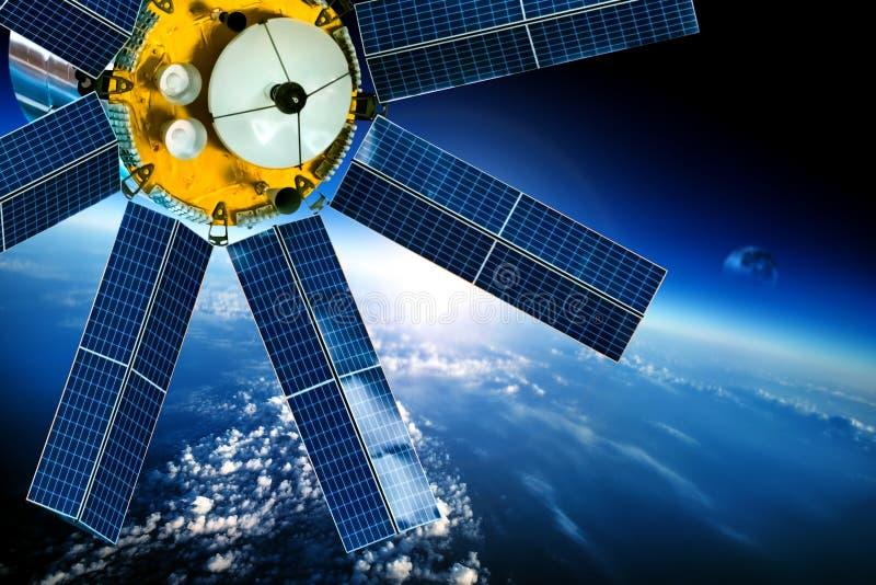 Ruimtesatelliet over de aarde stock illustratie