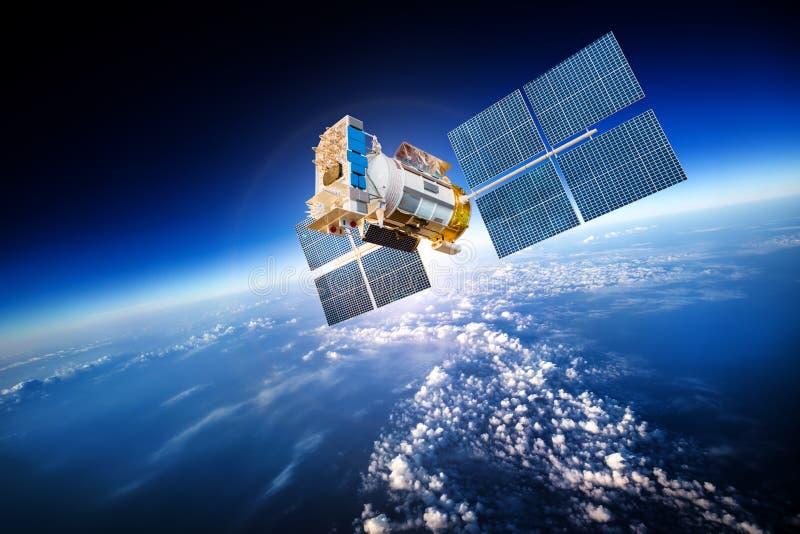 Ruimtesatelliet over de aarde stock foto