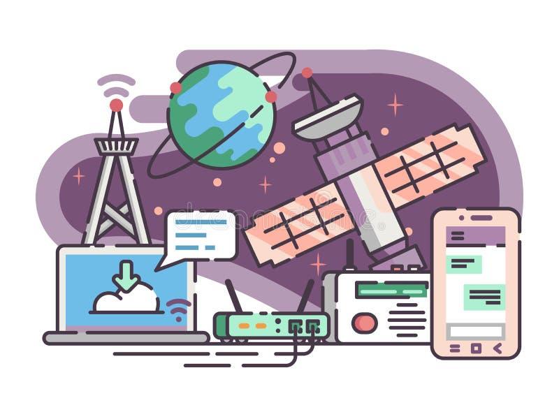 Ruimtesatelliet voor mededeling Internet stock illustratie