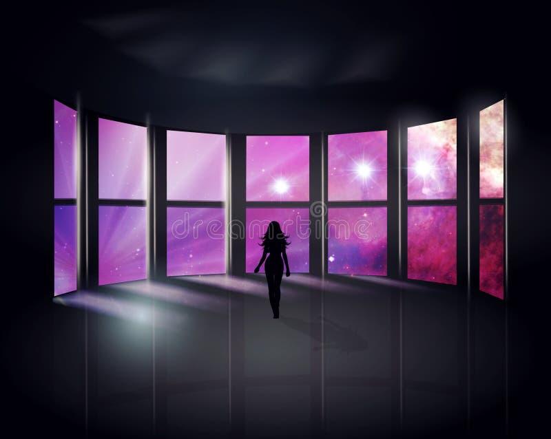 Ruimtescène buiten de vensters stock illustratie