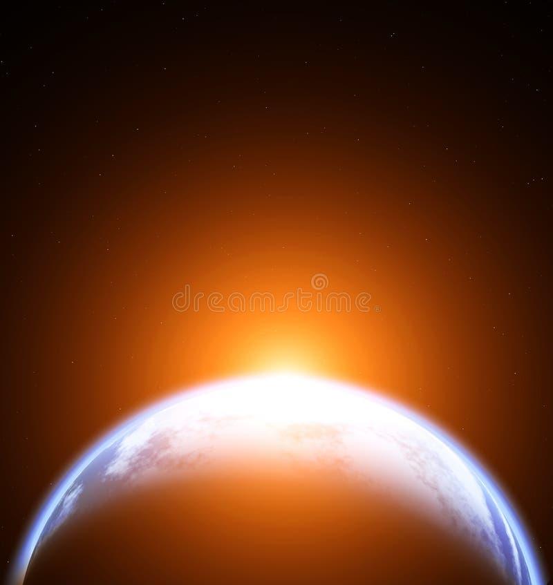 Ruimtescène met Aarde op zwarte achtergrond met sterren royalty-vrije illustratie