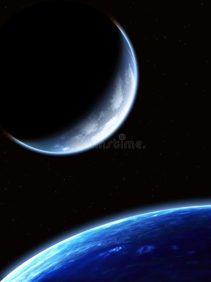 Ruimtescène met planeten royalty-vrije illustratie