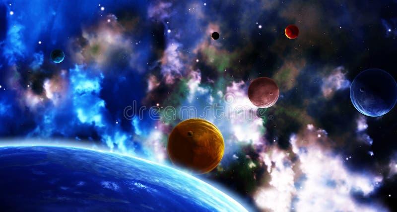 Ruimtescène met planeten en nevel stock illustratie