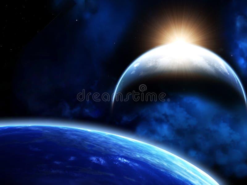 Ruimtescène met planeten en nevel royalty-vrije illustratie