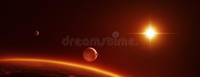 Ruimtescène met planetenmanen en een rode dwergzon vector illustratie