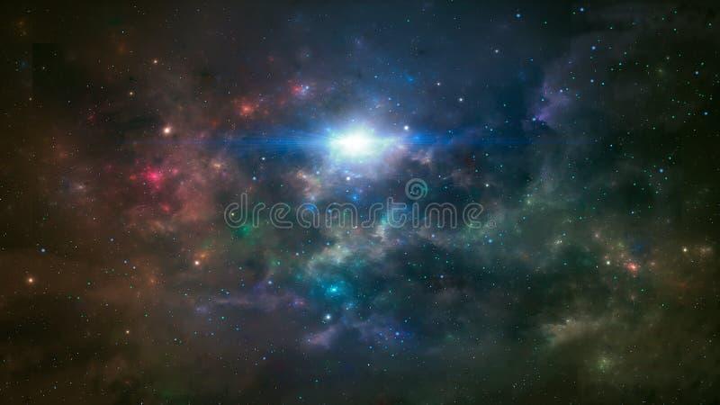 Ruimtesc?ne Kleurrijke nevel met sterren Nachthemel met veel Sterren Elementen door NASA worden geleverd die het 3d teruggeven stock illustratie