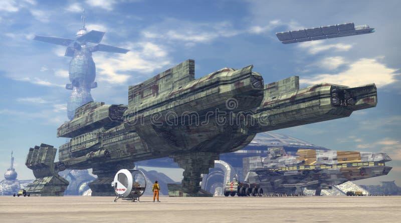 Ruimteschip bij ruimtehaven royalty-vrije illustratie