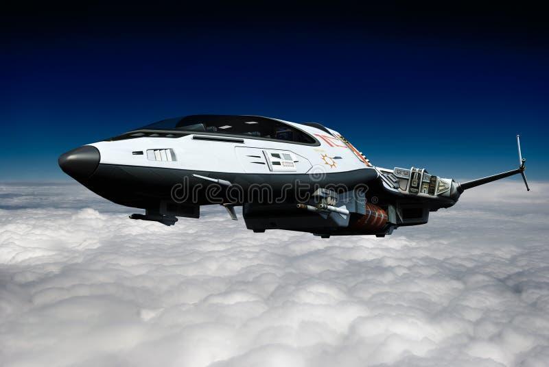 Ruimteschip boven de mening van het wolkenachtereind stock illustratie