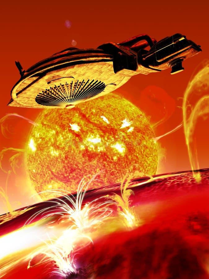Ruimteschip dicht bij een ster vector illustratie