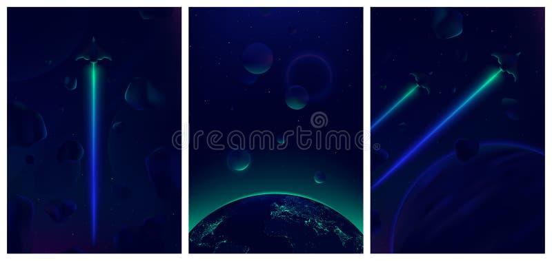Ruimteschip die in diepe ruimte met meteorieten op de achtergrond, Fantastische mening vliegen van de Aarde van ruimte, Neon het  royalty-vrije illustratie