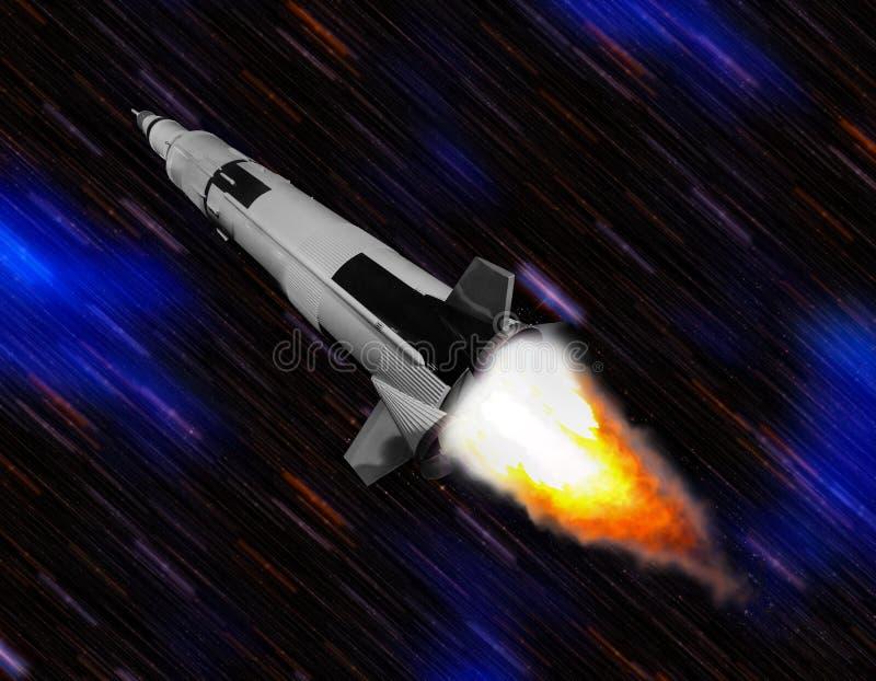 Ruimteschip die door ruimte vliegen stock foto