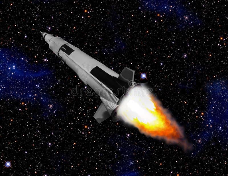 Ruimteschip die door ruimte vliegen stock illustratie