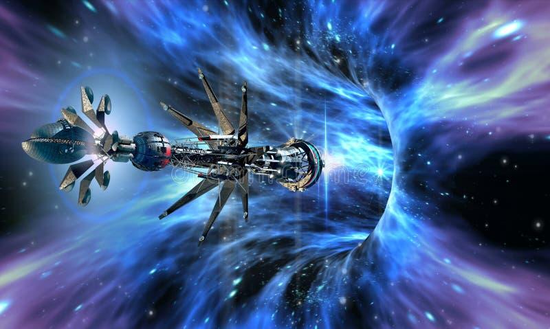 Ruimteschip die een wormhole ingaan vector illustratie