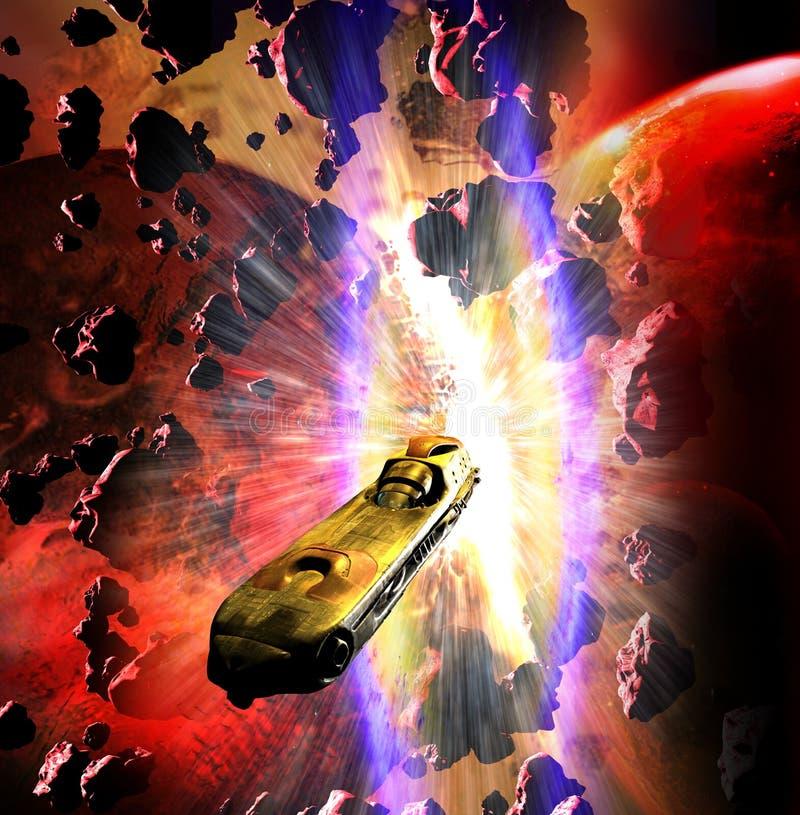 Ruimteschip die van wereldenbotsing ontsnappen vector illustratie