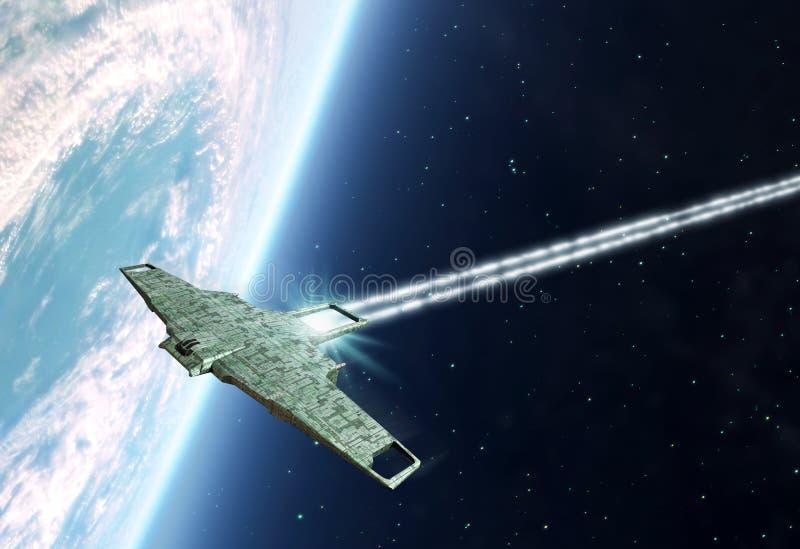Ruimteschip en aarde vector illustratie