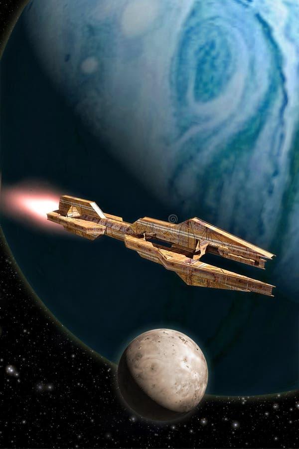 Ruimteschip en gas reuzeplaneet royalty-vrije illustratie